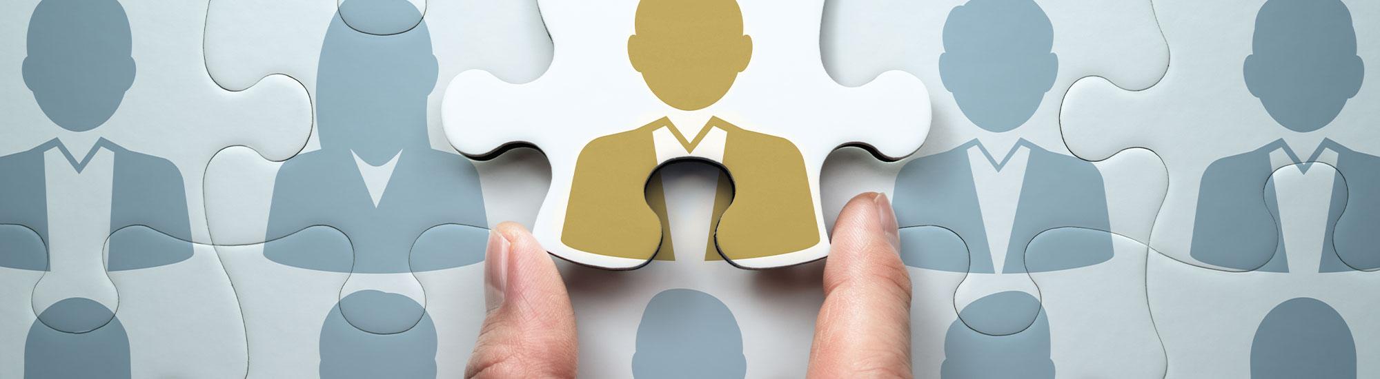Konzeptdarstellung symbolisiert einen potenziellen Bewerber als passendes Mitglied im Team der Otto Knauf GmbH
